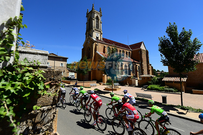 The peloton pass through Cogny during Stage 5 of the Criterium du Dauphine 2017, running 175.5km from La Tour-de Salvagny to Macon, France. 8th June 2017. <br /> Picture: ASO/A.Broadway | Cyclefile<br /> <br /> <br /> All photos usage must carry mandatory copyright credit (&copy; Cyclefile | ASO/A.Broadway)