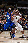 Devin Thomas (2) of the Wake Forest Demon Deacons and Amile Jefferson (21) of the Duke Blue Devils battle for position during second half action at the LJVM Coliseum on January 7, 2015 in Winston-Salem, North Carolina.  The Blue Devils defeated the Demon Deacons 73-65.  (Brian Westerholt/Sports On Film)