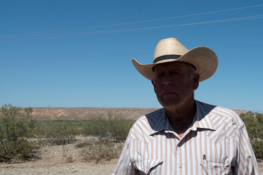 Cliven Bundy visits his supporters daily at their encampment near the Cliven Bundy ranch in Bunkerville, Nevada, USA.<br /> <br /> Supporters of Bundy came from all over the country to defend against what they believe is government overreach.<br /> The Bundy standoff is a 20-year legal dispute between the United States Bureau of Land Management (BLM) and cattle rancher Cliven Bundy, over unpaid grazing fees, that recently provoked an armed confrontation between protesters and law enforcement.