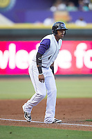 T.J. Williams (4) of the Winston-Salem Dash takes his lead off of third base against the Lynchburg Hillcats at BB&T Ballpark on May 29, 2015 in Winston-Salem, North Carolina.  The Dash defeated the Hillcats 8-1.  (Brian Westerholt/Four Seam Images)