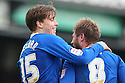 Luke Freeman of Stevenage celebrates after scoring their sixth goal with Stacy Long. - Yeovil Town v Stevenage - npower League 1 - Huish Park, Yeovil - 14th April, 2012 . © Kevin Coleman 2012..