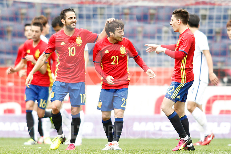 Spain's Cesc Fabregas (l), David Jimenez Silva (c) and Hector Bellerin celebrate goal during friendly match. June 1,2016.(ALTERPHOTOS/Acero)