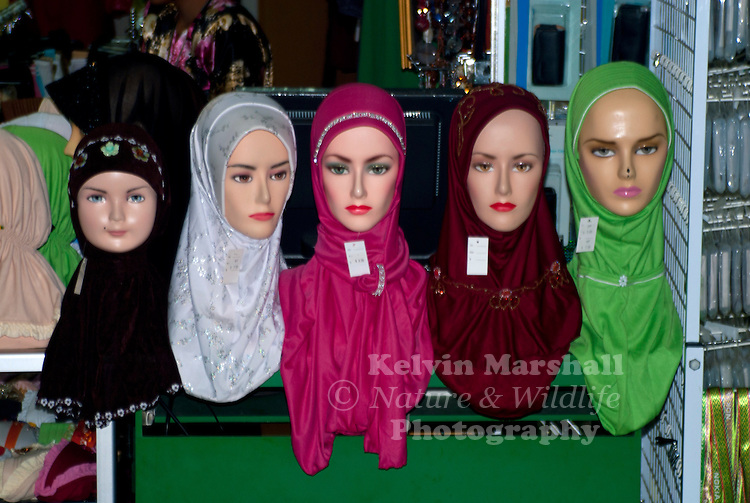 Mannequins displaying Muslim headscarf or commonly known as the hijab.