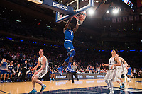 NEW YORK, NY - Thursday March 9, 2017: Michael Nzei (#1) of Seton Hall throws down a huge dunk on Marquette as the two schools square off in the Quarterfinals of the Big East Tournament at Madison Square Garden.