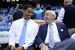 28 December 2016: Former UNC player and current Monmouth head coach King Rice (left) with UNC head coach Roy Williams (right). The University of North Carolina Tar Heels hosted the Monmouth University Hawks at the Dean E. Smith Center in Chapel Hill, North Carolina in a 2016-17 NCAA Division I Men's Basketball game. UNC won the game 102-74.