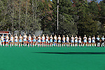 15 November 2015: North Carolina's players line up for player introductions. The University of North Carolina Tar Heels played the University of Michigan Wolverines at Francis E. Henry Stadium in Chapel Hill, North Carolina in a 2015 NCAA Division I Field Hockey Tournament Quarterfinal match. UNC won the game 1-0.