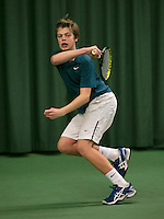 Rotterdam, The Netherlands, 15.03.2014. NOJK 14 and 18 years ,National Indoor Juniors Championships of 2014, Julian Prins (NED)<br /> Photo:Tennisimages/Henk Koster