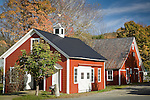 Fall foliage at the red Blacksmith shop in Grafton, VT, USA