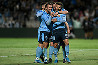 17th November 2019; Jubilee Oval, Sydney, New South Wales, Australia; A League Football, Sydney Football Club versus Melbourne Victory; Kosta Barbarouses of Sydney is congratulated by Adam le Fondre of Sydney after scoring a goal to make it 2-1 in the 68th minute