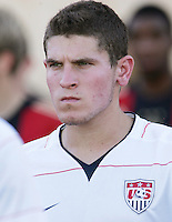 The United States' Dillon Powers (3)  takes the field before the FIFA Under 20 World Cup Group C Match between the United States and Germany at the Mubarak Stadium on September 26, 2009 in Suez, Egypt.