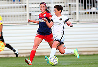 Boyds, MD - Saturday May 07, 2016: Washington Spirit forward Cali Farquharson (17) chases after Portland Thorns FC defender Meghan Klingenberg (25) during a regular season National Women's Soccer League (NWSL) match at Maureen Hendricks Field, Maryland SoccerPlex. Washington Spirit tied the Portland Thorns 0-0.