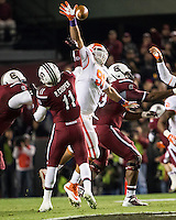 The tenth ranked South Carolina Gamecocks host the 6th ranked Clemson Tigers at Williams-Brice Stadium in Columbia, South Carolina.  USC won 31-17 for their fifth straight win over Clemson.  Clemson Tigers defensive tackle Josh Watson (91), South Carolina Gamecocks wide receiver Pharoh Cooper (11)