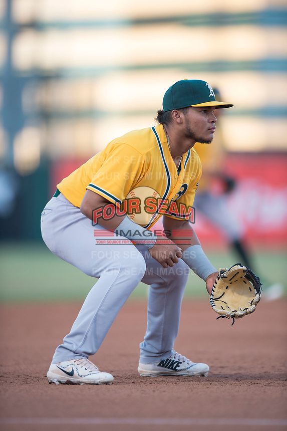 AZL Athletics third baseman Jordan Diaz (10) during an Arizona League game against the AZL Angels at Tempe Diablo Stadium on June 26, 2018 in Tempe, Arizona. The AZL Athletics defeated the AZL Angels 7-1. (Zachary Lucy/Four Seam Images)