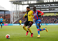 7th March 2020; Selhurst Park, London, England; English Premier League Football, Crystal Palace versus Watford; Cheikhou Kouyate of Crystal Palace challenges Etienne Capoue of Watford