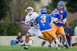 Los Angeles, CA 04/02/10 - Kellock Irvin (UCSB #3), Oisin Lewis (UCSB #2) and Michael Hanover (LMU #25) in action during the UCSB-LMU MCLA SLC conference lacrosse game at Loyola Marymount University.