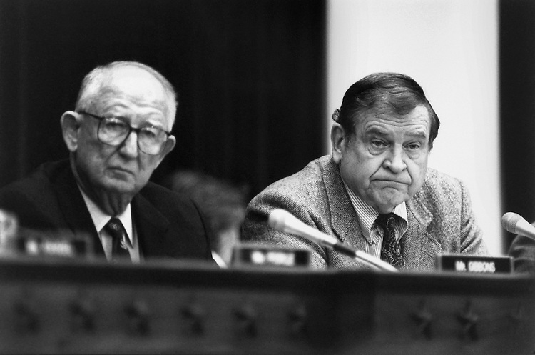 """Rep. Daniel David """"Dan"""" Rostenkowski, D-Ill., Chairman of the Ways and Means Committee, and Rep. James Arthur """"Jim"""" Gibbons, R-Nev., at a Ways and Means Hearing. January 27, 1994 (Photo by Laura Patterson/CQ Roll Call)"""