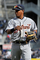 Apr 03, 2011; Bronx, NY, USA; Detroit Tigers infielder Ramon Santiago (38) during game against the New York Yankees at Yankee Stadium. Tigers defeated the Yankees 10-7. Mandatory Credit: Tomasso De Rosa