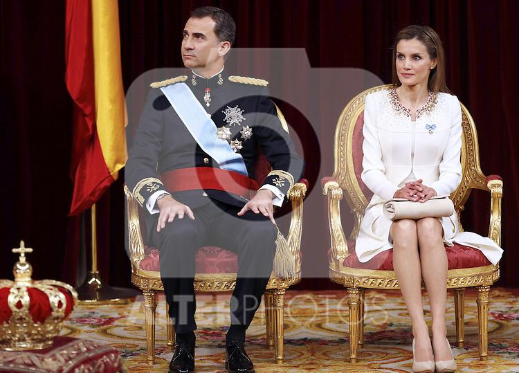 Coronation ceremony in Madrid. King Felipe VI of Spain and Queen Letizia of Spain at Congreso de los Diputados. June 19 ,2014. (ALTERPHOTOS/EFE/Pool)