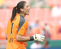 Hope Solo #1 of St. Louis Athletica barks out instructions during a WPS match against the Washington Freedom  on May 1 2010, at RFK Stadium, in Washington D.C.Freedom won 3-1.