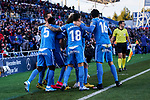 Players of Getafe FC celebrate goal during La Liga match between Getafe CF and Real Betis Balompie at Wanda Metropolitano Stadium in Madrid, Spain. January 26, 2020. (ALTERPHOTOS/A. Perez Meca)