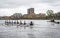 London. UNITED KINGDOM.   Tideway Week. THE CANCER RESEARCH UK BOAT RACES. 163rd Mens Boat Race and The 72nd Women's Boat Race on the Championship Course, River Thames, Putney/Mortlake.  Wednesday  29/03/2017    [Mandatory Credit. Intersport Images]<br /> <br /> Oxford University Women's Boat Club {OUWBC}<br /> Oxford, Crew, Alice Roberts, 2 Flo Pickles, 3 Rebecca Te Water Naude, 4 Rebecca Esselstein, 5 Chloe Laverack, 6 Harriet Austin, 7 Jenna Herbert, Stroke Emily Cameron, Cox Elenanor Shearer.