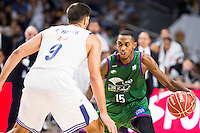 Real Madrid's player Felipe Reyes and Unicaja Malaga's player Jamar Smith during match of Liga Endesa at Barclaycard Center in Madrid. September 30, Spain. 2016. (ALTERPHOTOS/BorjaB.Hojas) /NORTEPHOTO.COM