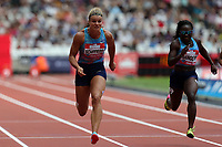 Dafne Schippers of Netherlands competes in the womenís 100 metres with Morolake Akinosun of USA during the Muller Anniversary Games at The London Stadium on 9th July 2017