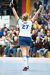 Mannheim, Germany, November 29: During the Bundesliga indoor women hockey match between Mannheimer HC and TSV Mannheim on November 29, 2019 at Irma-Roechling-Halle in Mannheim, Germany. Final score 4-4. (Copyright Dirk Markgraf / 265-images.com) *** Stine Kurz #27 of Mannheimer HC