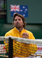 PAT RAFTER watches LLEYTON HEWITT (Aus) against ROGER FEDERER (SUI) in the Second Rubber of the Davis Cup between Australia and Switzerland. Roger Federer beat Lleyton Hewitt 5-7 7-6 6-2 6-3..Tennis - Davis Cup - World Group - Royal Sydney Golf Club - Sydney - Day 1 - Friday September 16th 2011..© AMN Images, Barry House, 20-22 Worple Road, London, SW19 4DH, UK..+44 208 947 0100.www.amnimages.photoshelter.com.www.advantagemedianetwork.com.