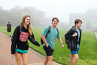 Drill Field foggy day - students walking between classes.<br />  (photo by Megan Bean / &copy; Mississippi State University)