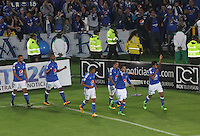 BOGOTÁ -COLOMBIA-31-03-2016 David Silva  de Millonarios  celebra su gol contra el Atlético Nacional  durante partido por la fecha 9 de Liga Águila I 2016 jugado en el estadio Nemesio Camacho El Campin de Bogotá./ David Silva of Millonarios celebrates his goal againts of Atletico Nacional during the match for the date 9 of the Aguila League I 2016 played at Nemesio Camacho El Campin stadium in Bogota. Photo: VizzorImage / Felipe Caicedo / Staff