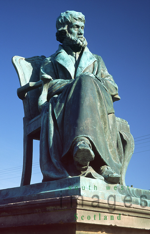 Statue of Thomas Carlyle the great social historian at his birth place in Ecclefechan Dumfries and Galloway Scotland UK
