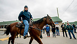LOUISVILLE, KENTUCKY - APRIL 28: Trainer Bill Mott heads to the track during morning workouts at Churchill Downs in Louisville, Kentucky on April 28, 2019. Scott Serio/Eclipse Sportswire/CSM