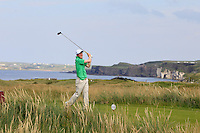 Gavin Moynihan (IRL) on the 15th tee during the Afternoon Singles between Ireland and Wales at the Home Internationals at Royal Portrush Golf Club on Thursday 13th August 2015.<br /> Picture:  Thos Caffrey / www.golffile.ie