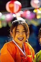 "Korean woman wearing traditional ""Hanbok"" costume, Tongdosa Temple, north of Pusan (Busan), South Korea"
