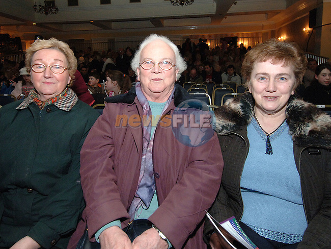 Julia Heeney, Aggie Boylan and Mary Wogan at the senior citizens night at the Drogheda Pantomime in the Europa hotel sponsored by Drogheda Concentrates. Photo: Colin Bell / Newsfile