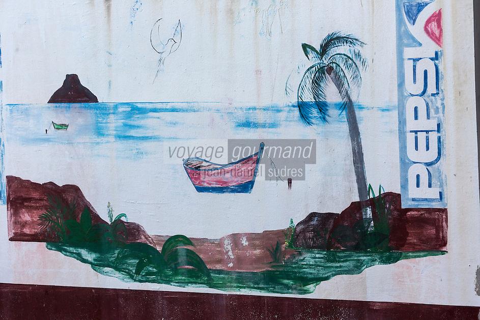 France, île de la Réunion, Saint-Pierre, quartier de Terre Sainte , publicité murale  pour un soda // France, Reunion island (French overseas department), Saint Pierre, Terre Sainte, wall advertising for a soda