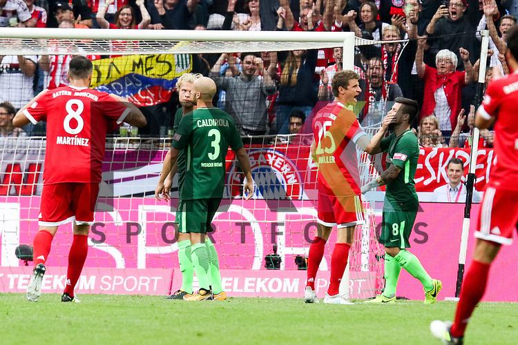 Torjubel Muenchens Thomas Mueller (Nr.25)  beim Telekom Cup 2017 Bayern Muenchen - Werder Bremen.<br /> <br /> Foto &copy; PIX-Sportfotos *** Foto ist honorarpflichtig! *** Auf Anfrage in hoeherer Qualitaet/Aufloesung. Belegexemplar erbeten. Veroeffentlichung ausschliesslich fuer journalistisch-publizistische Zwecke. For editorial use only.