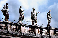 statue Bernini Colonnade surrounding St. Peter's Square.Pope Benedict XVI during his weekly general audience in St. Peter square at the Vatican, Wednesday. 4 April, 2012
