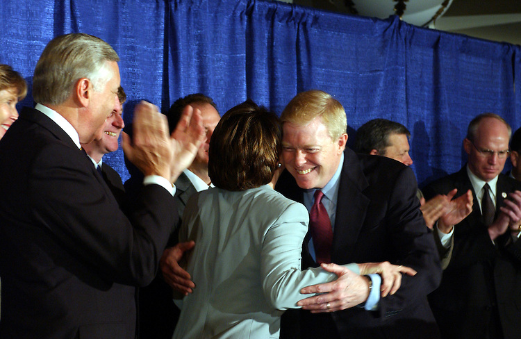 "Gephardt6_051403 -- Richard ""Dick"" Gephardt, D-MO., hugs Democratic Leader Nancy Pelosi, D-CA., during a press conference in which he received the endorsement of the members of the House Democratic leadership. Gephardt's list of endorsements included House Democratic Leader Nancy Pelosi and House Democratic whip Steny Hoyer and 27 other prominent House Democrats."
