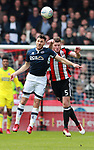 Lee Gregory of Millwall and Jack O'Connell of Sheffield Utd during the championship match at the Bramall Lane Stadium, Sheffield. Picture date 14th April 2018. Picture credit should read: Simon Bellis/Sportimage