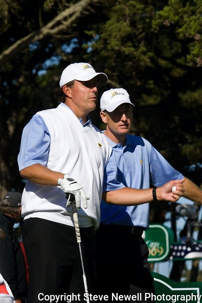 Phil Mickelson and Jim Furyk at the 2009 President's Cup held Harding Park Golf Course in San Francisco, CA.  I was shooting for the San Francisco Examiner's website.