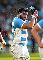 Ramiro Herrera of Argentina has a drink during a break in play. Rugby World Cup Pool C match between Argentina and Georgia on September 25, 2015 at Kingsholm Stadium in Gloucester, England. Photo by: Patrick Khachfe / Onside Images