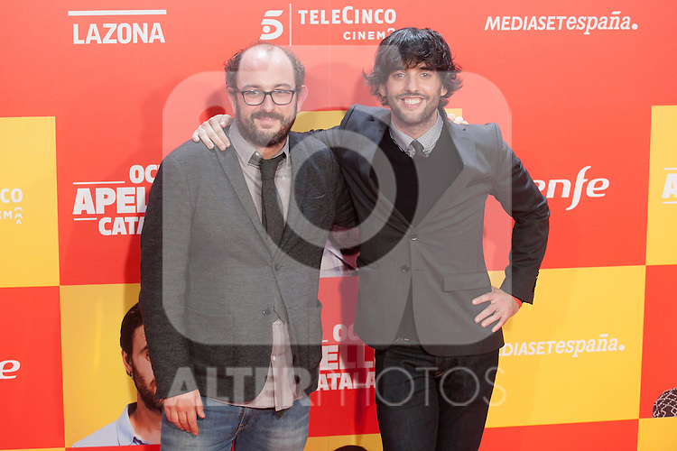 Borja Cobeaga, Diego San Jose pose during `8 apellidos catalanes´ film premiere in Madrid, Spain. November 18, 2015. (ALTERPHOTOS/Victor Blanco)