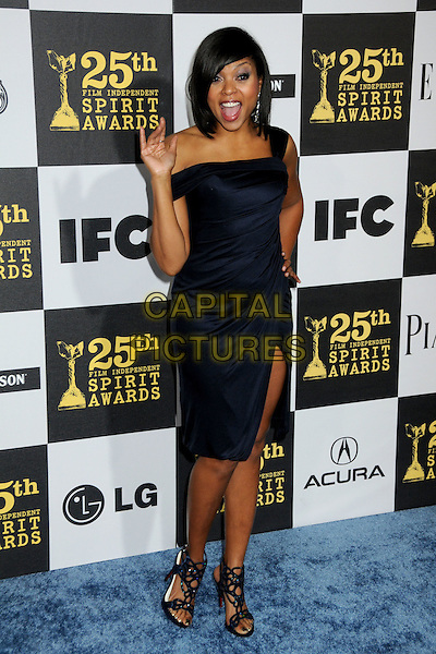 TARAJI P. HENSON.25th Annual Film Independent Spirit Awards - Arrivals held at the Nokia Event Deck at L.A. Live, Los Angeles, California, USA..March 5th, 2010.full length hand palm waving mouth open black dress sandals slit thigh split .CAP/ADM/BP.©Byron Purvis/AdMedia/Capital Pictures.