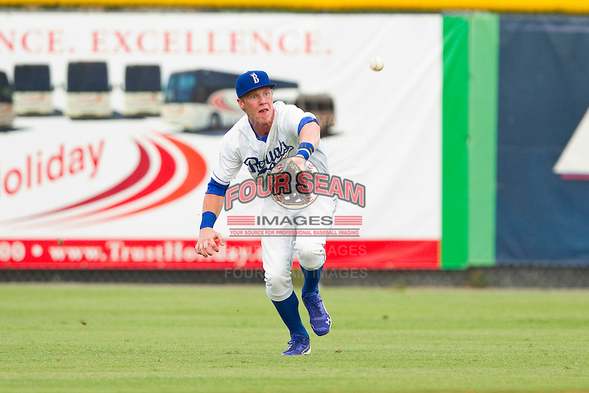 Burlington Royals right fielder Fred Ford (25) makes a catch on a sinking line drive against the Danville Braves at Burlington Athletic Park on July 18, 2012 in Burlington, North Carolina.  The Royals defeated the Braves 4-3 in 11 innings.  (Brian Westerholt/Four Seam Images)