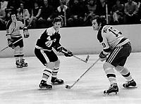 Seals Bert Marshall along with Boston Bruins Bobby Orr..(.1972 photo/Ron Riesterer)