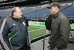 21 November 2009: Seattle Sounders FC owner Drew Carey (left) with Sounders goalkeeper Kasey Keller (right). The Los Angeles Galaxy held a training session at Qwest Field in Seattle, Washington in preparation for playing Real Salt Lake in Major League Soccer's championship game, MLS Cup 2009, the following day.