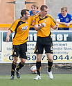 Stephen Simmons (4) celebrates after he scores Alloa's equaliser.