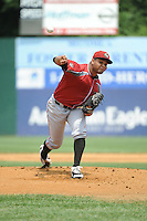 Altoona Curve pitcher Joan Montero (49) during game against the New Britain Rock Cats  at New Britain Stadium on June 25, 2014 in New Britain, Connecticut. New Britain defeated Altoona 3-1.  (Tomasso DeRosa/Four Seam Images)